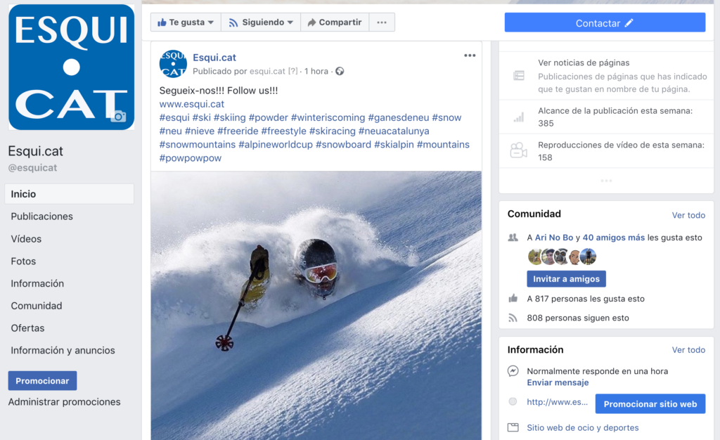 Esqui.cat, facebook
